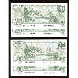 Bank of Canada $20, 1979 - Lot of 2 Consecutive Pairs