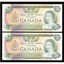 Bank of Canada $20, 1979 Replacement Lot of 2 Consecutive