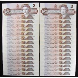 Bank of Canada $2, 1986 - Lot of 30 Consecutive