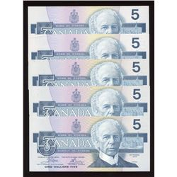 Bank of Canada $5, 1986 - Lot of 5