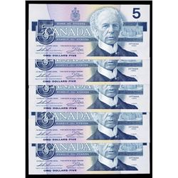 Bank of Canada $5, 1986 - Lot of 5 Consecutive Serial Numbered Replacements