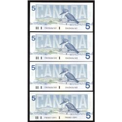 Bank of Canada $5, 1986 - Lot of 4 Replacement