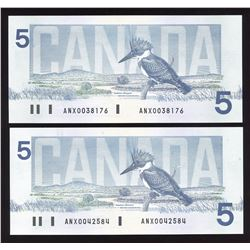 Bank of Canada $5, 1986 - Lot of 2 Replacement