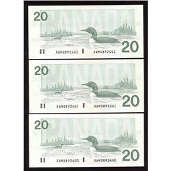 Bank of Canada $20, 1991 - Lot of 3 Consecutive