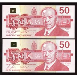 Bank of Canada $50, 1988 - Lot of 2