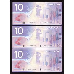Bank of Canada $10, 2001 Replacement - Lot of 3