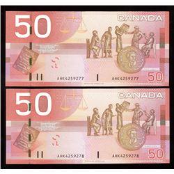 Bank ofCanada $50, 2006 - Lot of 2 Consecutive