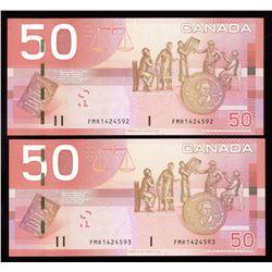 Bank ofCanada $50, 2008 - Lot of 2 Consecutive