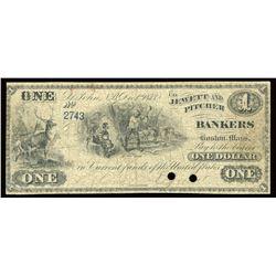 New Brunswick Scrip, Jewett and Pitcher $1, 1875