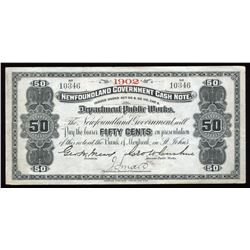 Government of Newfoundland 50 Cents Cash Note, 1902