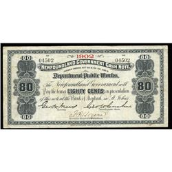 Government of Newfoundland 80 Cents Cash Note, 1902