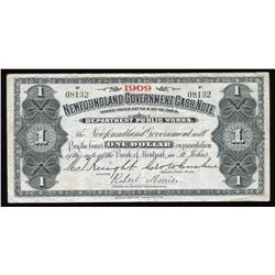 Government of Newfoundland $1 Cash Note, 1909
