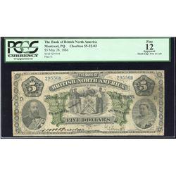 Bank of British North America $5, 1886