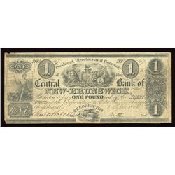 Central Bank of New Brunswick £1, 1856