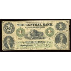 Central Bank of New Brunswick $1, 1860
