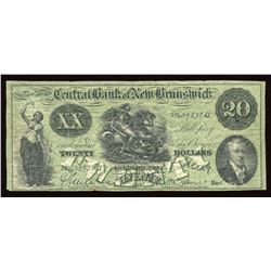 Central Bank of New Brunswick $20, 18__ Remainder