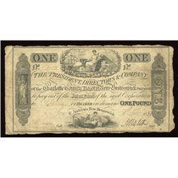 Charlotte County Bank £1, 1839
