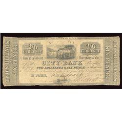 City Bank, St. John N.B., Two Shillings & 6 Pence, 1838