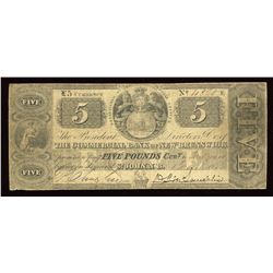 Commercial Bank of New Brunswick £5, 1853