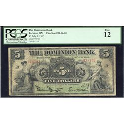 The Dominion Bank $5, 1905