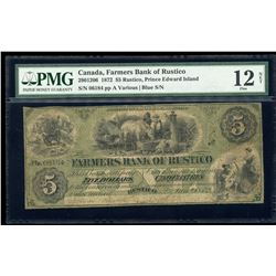 Farmer's Bank of Rustico $5, 1872