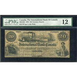 International Bank of Canada $20, 1859
