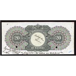 Merchants Bank of Canada $20 Back Coloured Proof