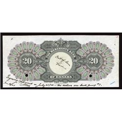 Merchants Bank of Canada $20 Back Coloured Proof