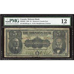 The Molsons Bank $5, 1908