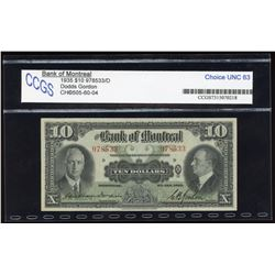Bank of Montreal $10, 1935