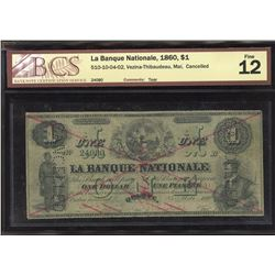 La Banque national, 1860 $1