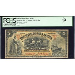 The Bank of Nova Scotia 1908 $5  rare this nice.