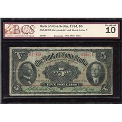 Bank of Nova Scotia $5, 1924
