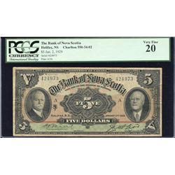 The Bank of Nova Scotia 1929 $5