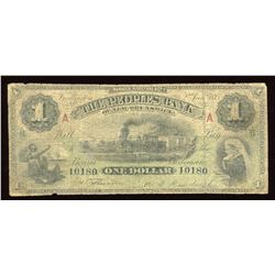 Peoples Bank of New Brunswick $1, 1885