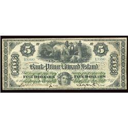 Bank of Prince Edward Island $5, 1877