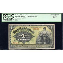 Royal Bank of Canada (Jamaica) £1, 1938