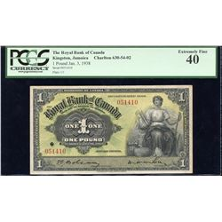 Royal Bank of Canada (Jamaica) £1, 1938