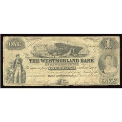 Westmorland Bank of New Brunswick $1, 1859
