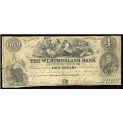 Westmorland Bank of New Brunswick $4, 1854