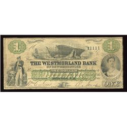 Westmorland Bank of New Brunswick $1, 1861 Solid Serial Number