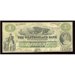Westmorland Bank of New Brunswick $1, 1861