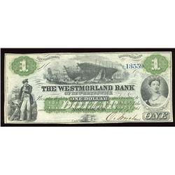 Westmorland Bank of New Brunswick $1, 1861 Remainder