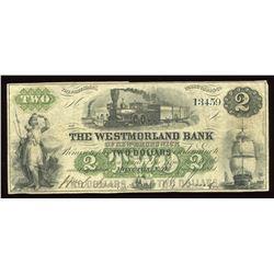 Westmorland Bank of New Brunswick $2, 1861