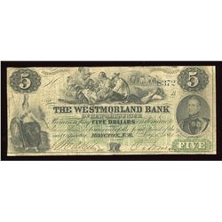 Westmorland Bank of New Brunswick $5, 1861