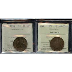 1859 & 1895 ICCS Graded One Cents