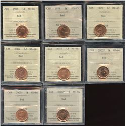 Lot of 8 ICCS Graded One Cents