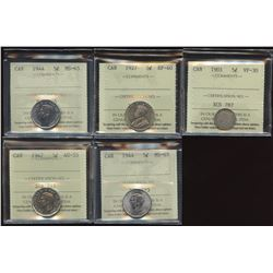 Lot of 5 ICCS Graded Five Cents