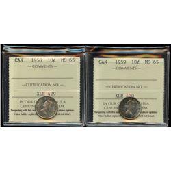 1958 & 1959 Ten Cents