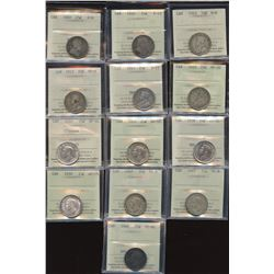 Lot of 13 ICCS Graded Twenty-Five Cents